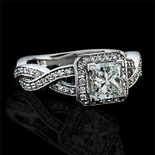 1.61 CT G/VS2 PRINCESS CUT ENHANCED DIAMOND HALO ENGAGEMENT RING 14K WHITE GOLD