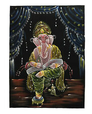 BATIK TISSU GANESH ELEPHANT PEINT 70x52cm FAIT MAIN  14