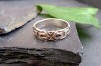 Toller 925 Silber Ring X Muster Damen Herren Unisex Sterling Modern Elegant Chic