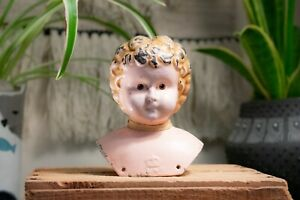 Antique Late 1800's Juno, 5 German Made Tin Doll Head And Shoulders - Crown Mark