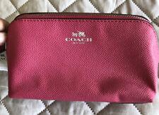 New Coach Fuschia/Silvertone Zipper Crossgrain Leather Cosmetic Case