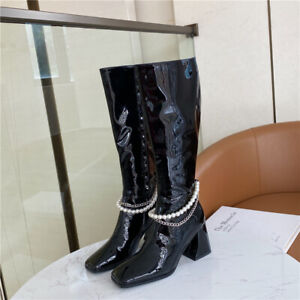Women Boots Black Knee High Boot Patent Leather Square Toe Block Heel Zip Shoes