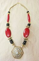 "TIBETAN Bold FASHION Red Color Resin Beads Tribal Long Necklace Jewelry 36""L"