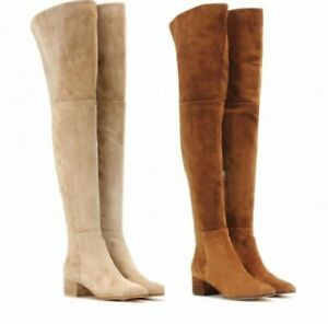 Womens Thigh High Boots Ladies Casual Office Mid Heel Over The Knee Shoes Size