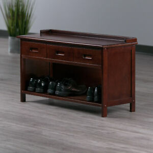 Winsome Wood Adriana 3-Drawer Bench with Storage