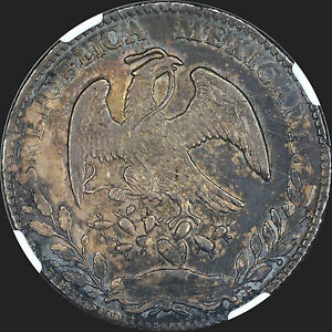 DOUBLED DIE MEXICO 1879 CN-JD 8R REALES NGC AU55 NICE ORIGINAL TONED EAGLE RAYS