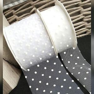 White Polka Dot Tulle / Net Ribbon, 75mm 40mm, Bridal Bride Wedding love