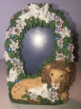 Vintage The Lion And Lamb Bible Story picture Frame— (pictures 3 1/2� X 5� ) Nib
