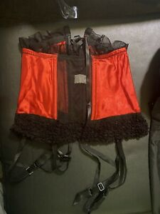 Shirley of Hollywood Red Corset Garter Belt SZ S