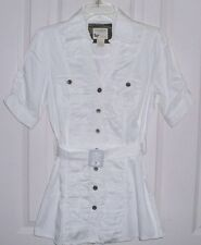 COTTON EXPRESS NEW WOMEN'S BELTED BLOUSE TUNIC TOP  FITTED RUCHED WHITE SIZE XL
