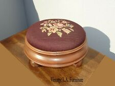 Vintage French Country Burgundy Floral Needlepoint Petite Footstool