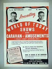 World of Today Shows & Caravan of Amusements PRINT AD - 1945 ~~ L.C. Reynolds