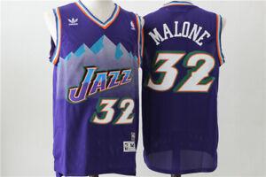 NEW Utah Jazz #32 Karl Malone Retro Swingman Basketball Jersey Purple