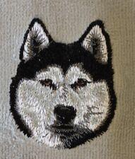 Siberian Husky Head, Hand Towel, Embroidered, Custom, Personalized, Dog
