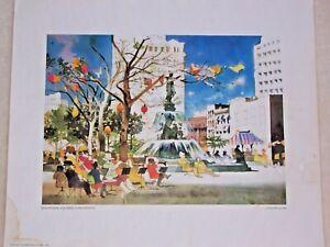 "Dong Kingman ""Fountain Square, Cincinnati"" Signed Print 13⅞"" x 16¾"" ©1979"
