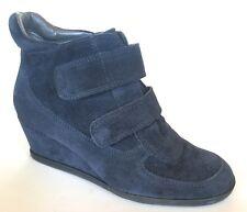 Aerosoles Heelrest Blue Suede Wedge Heel Shoe Boot Size 6 Granny Ankle Booties