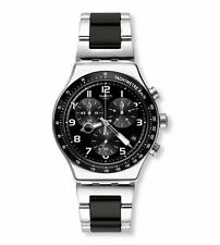 New Swatch Speed Up Black Dial Chrono Stainless Steel Men's Watch YVS441G