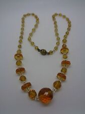 VINTAGE NECKLACE ART DECO? FACETED CLEAR AND AMBER GLASS PARTY PROM FESTIVAL