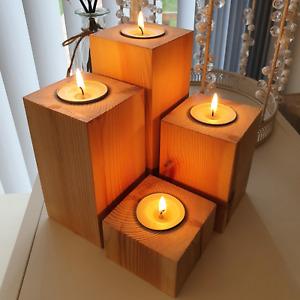 Rustic Wooden Tea Light Candle Holders Redwood Handmade Set Of 4 Natural Wood