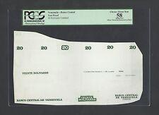 Venezuela - Banco Central 20 Bolivares Undated Vignette Proof About Uncirculated