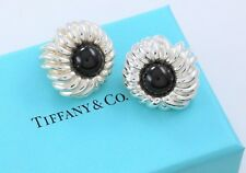 Tiffany & Co Silver Onyx Gem Bead Nature Flower Clip On Earrings w/ Pouch RARE