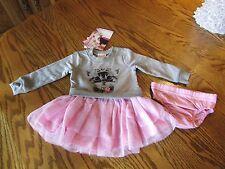 "Nannette Baby Girls 2 Piece ""Cat Tiara"" Tutu Dress Set Size 12M Nwt $38"