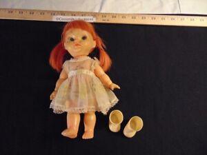 "Vintage 1960's 10"" Doll Japan Red Hair Girl Dress Panties Shoe Freckles Pretty"