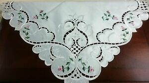 """42x42"""" Square Handmade Pink Rose Bud Embroidered Embroidery Tablecloth Polyester"""