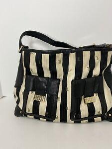L.A.M.B by Gwen Steffani large black and white striped tote bag - women's