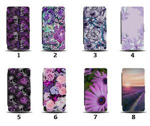 Purple Flowers Flip Wallet Case Floral Lavender Summer Flower Roses Skulls 8153