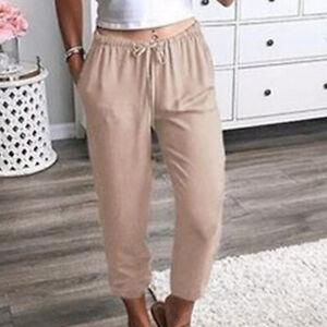 Women's Joggers Capri Pants Ladies Elastic Waisted Pocket Trousers Lounge Wear