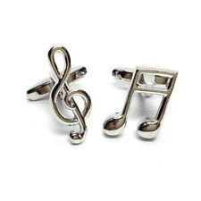 High Quality Rhodium Plated Music Notes Musical Cufflinks