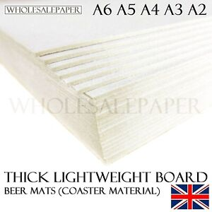 BACKING BOARD GREYBOARD CARDS A6 A5 A4 A3 A2 CRAFT THICK PAPER OFF WHITE 1mm 2mm