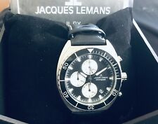 Jacques Lemans Panda Chronograph  Blk dial. Myota Movm't  w/3 Silv Sub-Dials