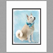 Norwegian Buhund Dog Original Art Print 8x10 Matted to 11x14