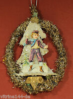Christbaumschmuck TINSEL Ornament Winterszene Oblate Dresdner Pappe um 1900