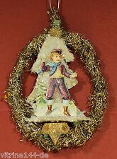 Christbaumschmuck Winterszene mit  KNABE Tannenbaum Schnee Original um 1900