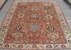 GENUINE ANTIQUE HERIZZ SERAPII HAND KNOTTED WOOL ORIENTAL RUG CLEANED 8.2 x 11.4