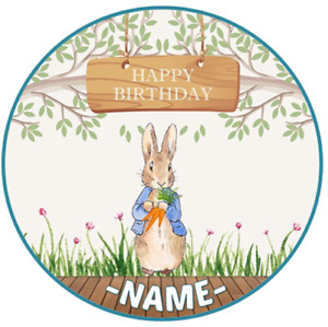 Peter Rabbit PERSONALISED Edible ICING Cake Decoration Topper Image Birthday