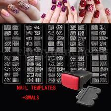 10 Design Set Nail Art Polish Manicure Image Stamping Template Plate Scraper US