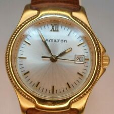 Hamilton Gold Tone Quartz Watch With Date Window - New Battery Installed