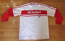 VfB Stuttgart Soccer White and Red Men's Medium Long Sleeve Cotton Shirt Jersey