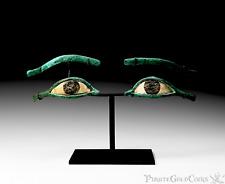 AUTHENTIC MUMMY EYES! 332-30BC PTOLEMAIC KINGDOM ANCIENT EGYPT ARTIFACT FLEET