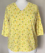 Denim Co Perfect Jersey Top V Neck 3/4 Sleeves Multi Polka Dots Yellow Sz 1X