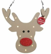 Rudolph Reindeer Head Wooden LED Light Up Plaque Hanging Christmas Decoration