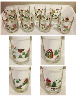 VINTAGE Christmas Drinking 14 oz. Old Fashion Rock Glasses Santa Sleigh 8-PC USA
