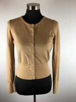 C Wonder Womens Sweater M Medium Beige Tan Crop Cardigan Button Down Merino Wool