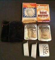 Vintage Peacock Petersons Jon-E Pocket Hand Warmer Made in Japan Lot Cover & Box