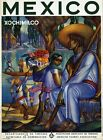 """Vintage Illustrated Travel Poster CANVAS PRINT Mexico Xochimilco 24""""X18"""""""