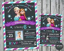 FROZEN BIRTHDAY INVITATIONS CARDS ELSA ANNA PARTY PHOTO INVITES SNOW QUEEN